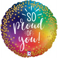 "Multi-Coloured With Gold Dots "" So Proud Of You"" 18"" Foil Balloon"