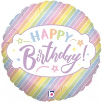 "Happy Birthday Stripe Pastel 18"" Foil Balloon"