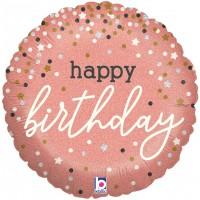 "Happy Birthday Rose Gold 18"" Foil Balloon"