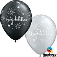 "Congratulations Elegant 11"" Pearl Onyx Black & Silver (25CT)"