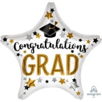 "Congrats Grad Star Shaped 28"" Supershape"