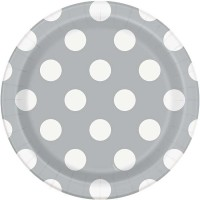 """Silver. Dots 7"""" Plates 8CT"""