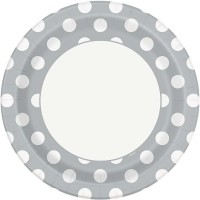 """Silver. Dots 9"""" Plates 8 CT."""