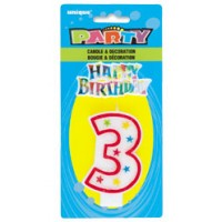 NUMERAL 3 GLITTER CANDLE WITH CAKE DECOR (Pack of 6)