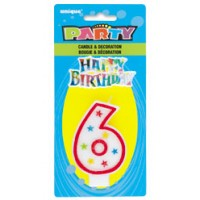 NUMERAL 6 GLITTER CANDLE WITH CAKE DECOR (Pack of 6)