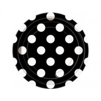 Midnight Black. Dots 7'' Plates 8 CT.