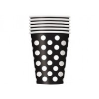 Midnight Black. Dots 12oz Cups 6 CT.