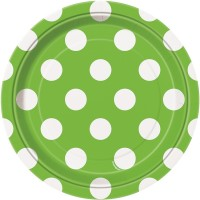 Lime Green. Dots 7'' Plates 8 CT.