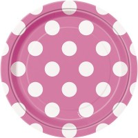 Hot Pink. Dots 7'' Plates  8 CT.