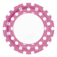 Hot Pink. Dots 9'' Plates 8 CT.