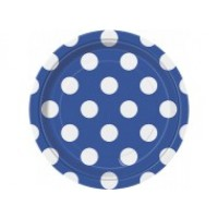 Royal Blue. Dots 7'' Plates 8 CT.