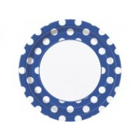 Royal Blue. Dots 9''Plates 8 CT.