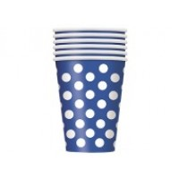 Royal Blue. Dots 12 OZ Cups 6CT.