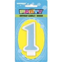 Number 1 Birthday Candle Blue - Pack of 6