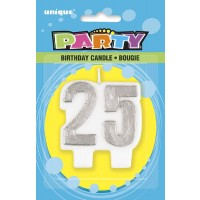 Silver Number 25 Birthday Candle - Pack of 6