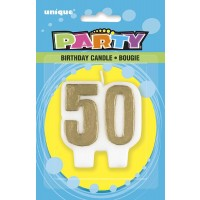 Gold Number 50 Birthday Candle - Pack of 6