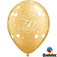 "50th Anniversary Little Hearts 11"" Gold (25CT)"