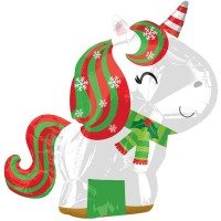 "Unicorn Christmas Junior Shape 17""x21"" Foil Balloon"