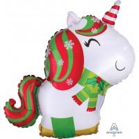 "Christmas Unicorn Junior Shape 21"" Foil Balloon"