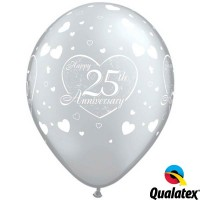 "25th Anniversary Little Hearts 11"" Silver (25CT)"