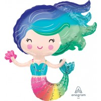 """Mermaid With Clam Supershape 29"""" X 30"""""""