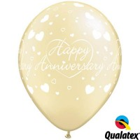 "Happy Anniversary Hearts 11"" Pearl Ivory (25CT)"