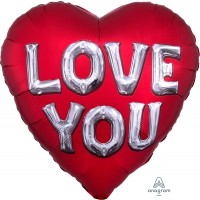 "Red and Silver Love You Jumbo Heart Shaped 28"" Foil Balloon"