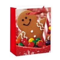 Large Happy Gingerbread Man Gift Bag 32X26X11cm
