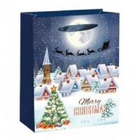 X-Large Merry Christmas - Village W/Glitter Gift Bag 46X33X13cm