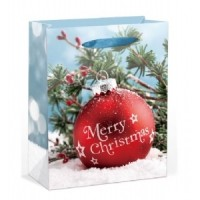 Large Bauble W/ Glitter Gift Bag 32X26X11cm