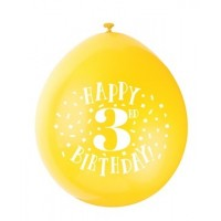 "Happy 3rd Birthday 9"" Latex Air Fill Balloon - Assorted Colours, Printed 1 Side - 10ct."