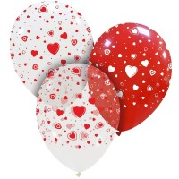 "Hearts Red White Clear 12"" Latex 25ct"