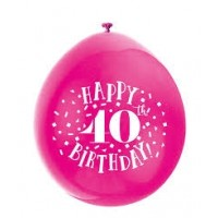 "Happy 40th Birthday 9"" Latex Air Fill Balloon - Assorted Colours, Printed 1 Side - 10ct."