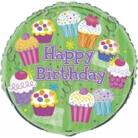 """Happy Birthday with Cupcakes 18"""" Foil Balloon"""