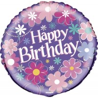 "Happy Birthday With Pink Flowers 18"" Foil Balloon"