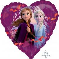 """Elsa and Anna Frozen 2 Heart Shaped 18"""" Foil Balloon"""