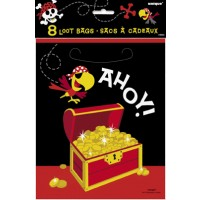 Ahoy Pirate Loot Bags 8ct