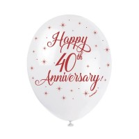 "Happy 40th Anniversary  5CT 12"" Helium Fill Latex Balloon- Pearlized  Printed All Around - 5ct"