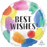 "Colorful Paint Splashes 'Best Wishes' 18"" Foil Balloon"