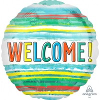 """Welcome! Colourful Lines 18"""" Foil Balloon"""