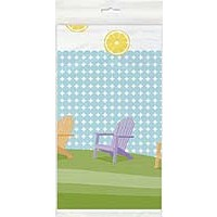 "Plastic Tablecover 54"" x 84"" - Sunny Chairs - 1ct. 12pk."