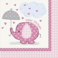 Luncheon Napkins - Umbrellaphants Pink - Baby Shower 16CT.