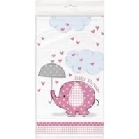 "Plastic Tablecover 54"" x 84"" - Umbrellaphants Pink - Baby Shower 1CT."