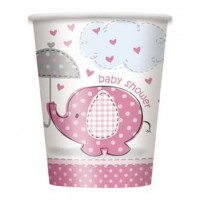 9oz. Cups - Umbrellaphants Pink - Baby Shower 8CT.