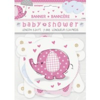 Jointed Banner - Umbrellaphants Pink - Baby Shower