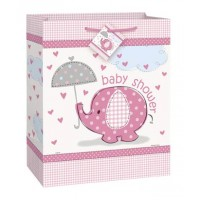 "Large Gift Bag 12.5""H. x 10.5""W. - Umbrellaphants Pink - Baby Shower"