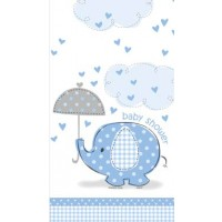 "Plastic Tablecover 54"" x 84"" - Umbrellaphants Blue - Baby Shower 16CT."
