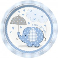 "9"" Plates - Umbrellaphants Blue - Baby Shower 8CT."