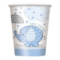 9oz. Cups - Umbrellaphants Blue - Baby Shower 8CT.