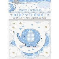 Jointed Banner - Umbrellaphants Blue - Baby Shower 12 PK.